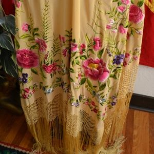 Vintage Large Floral Embroidery Fringe Piano Shawl